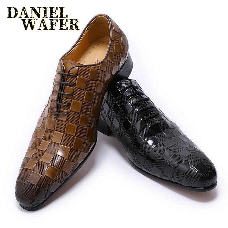 حذاء جلد إيطالي فاخر للرجال ، حذاء مكتب أكسفورد رسمي مع أربطة مطبوعة مربعة ، أسود وبني