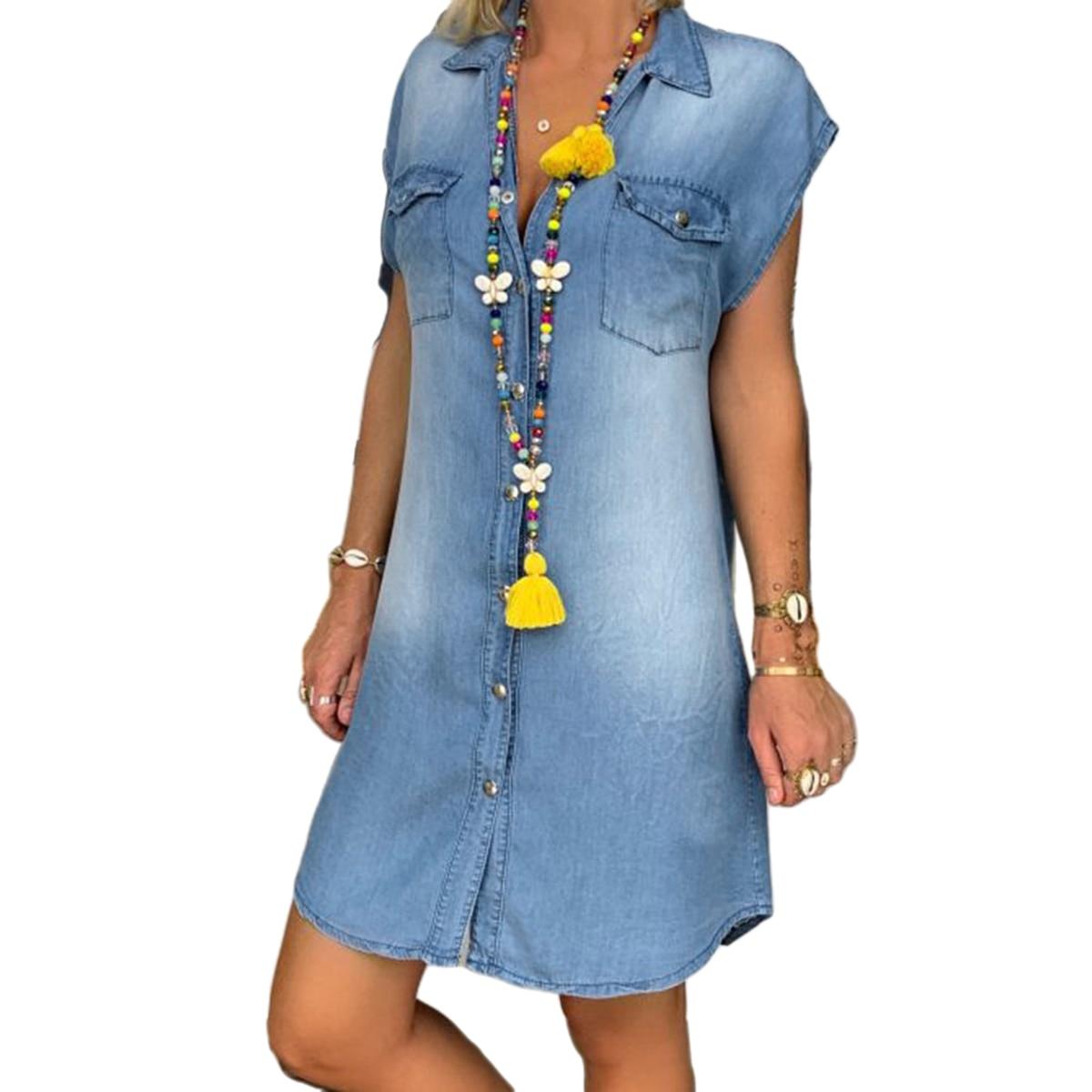 فستان صيفي قصير غير رسمي فضفاض مع زر رقبة على شكل حرف V بدون أكمام للسيدات مواكب للموضة مقاس M L XL XXL XXXL