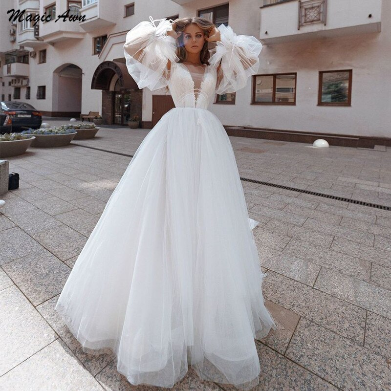 Magic Awn Long Puff Sleeves Boho Wedding Dresses Lace Appliques Illusion Princess Beach A-Line Mariage Gowns Lace Up Back 2021 недорого