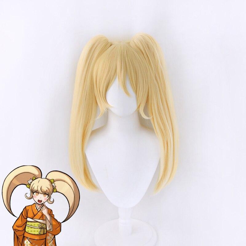 Anime Danganronpa Saionji Hiyoko Blonde Pferdeschwänzen Perücke Cosplay Kostüm Dangan Ronpa Wärme Beständig Synthetische Haar Frauen Perücken
