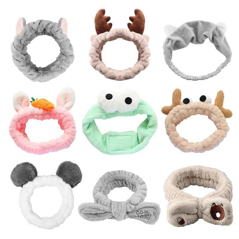 Diademas elásticas con lazo de lana Coral para niña y mujer, accesorios para el cabello para lavado de cara, 65 estilos