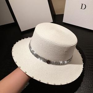 202005-jiejia summer  paper Shiny webbing lady   fedoras  cap women leisure panama jazz hat