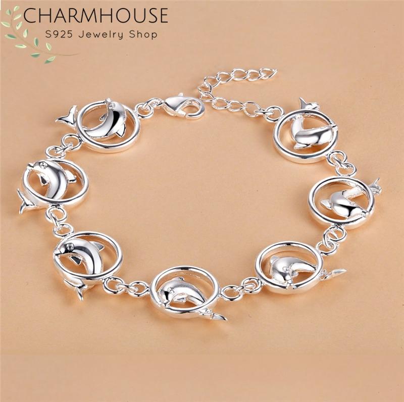 Charmhouse, pulseras de plata 925 para mujeres, círculo Dolphin Link, pulsera de cadena, pulsera, pulsera de moda, joyería para fiesta, regalos