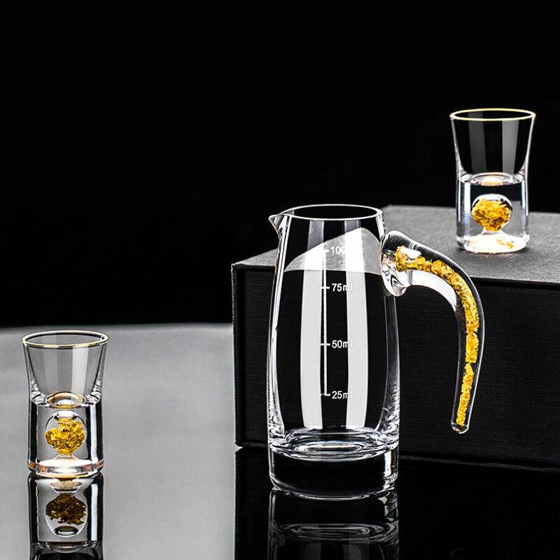 24K الذهب الخالص احباط أعلى درجة كريستال النار دورق النبيذ الزجاجي مقسم مجموعة اليدوية رصاصة أكواب الخمور الروح البيضاء نظارات صغيرة
