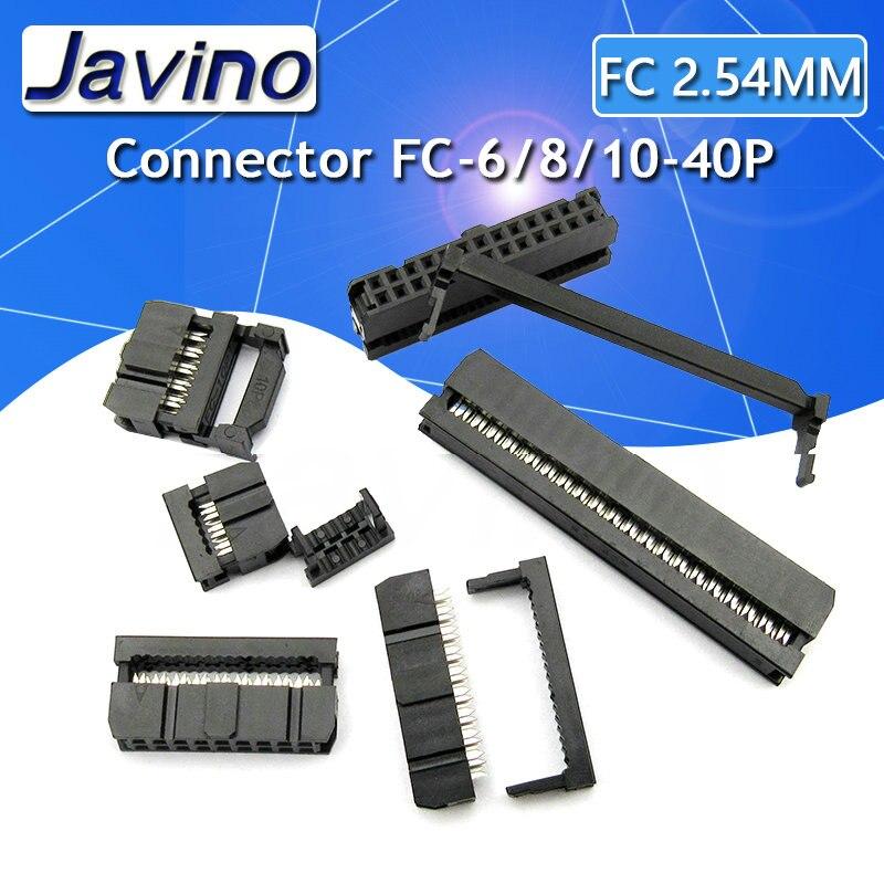 5 Juegos 2,54mm conector IDC 2x5 Pin 10 Pin doble fila IDC conector hembra FC-6P FC-8P FC-10P a FC-40P cable hembra