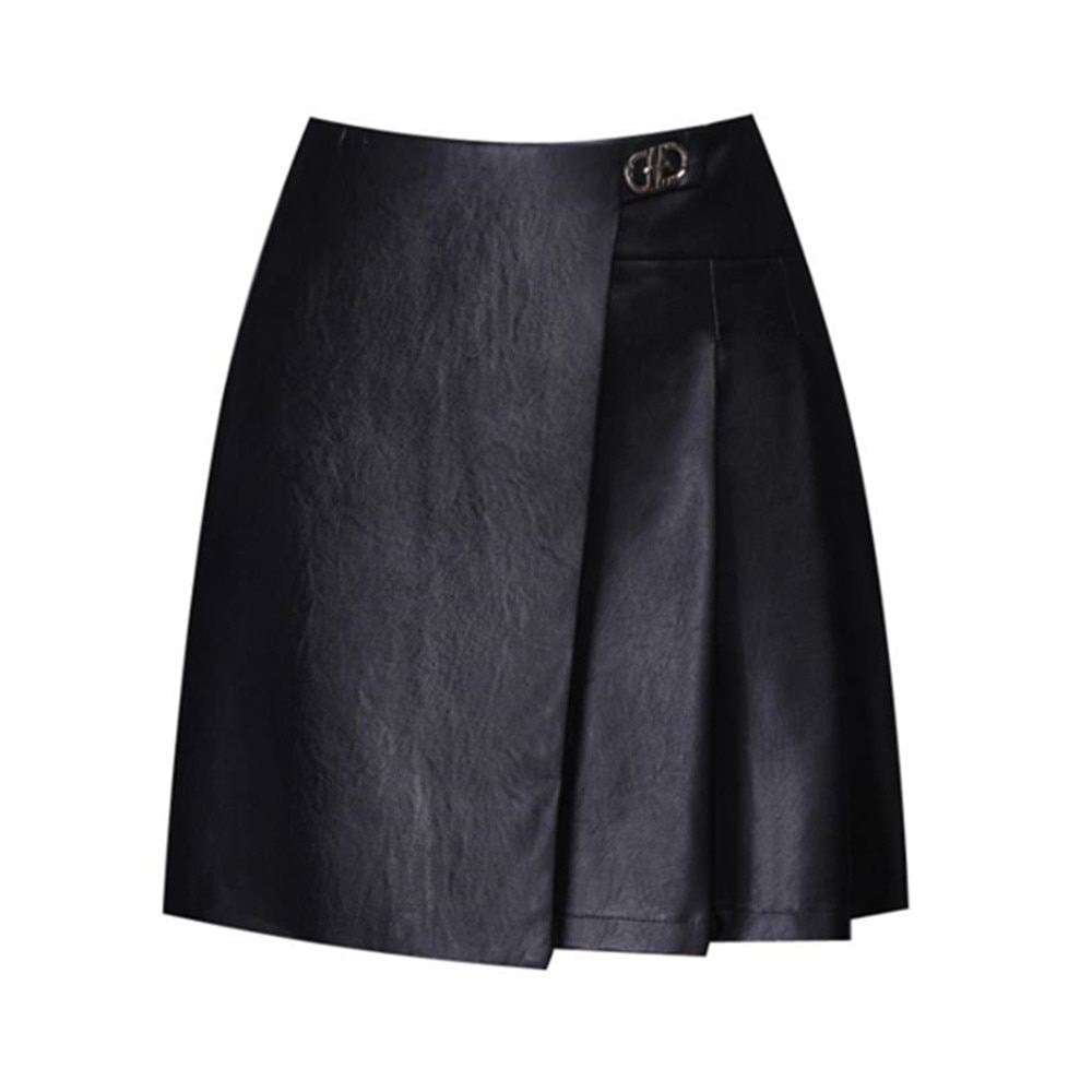 طيات عالية الخصر تنورة قصيرة المرأة موضة ألف خط تنورة امرأة التنانير Mujer Faldas Saias مولر