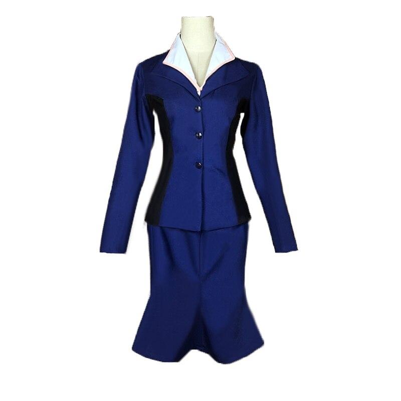 La primera vengadores Capitán América agente Peggy Carter Cosplay traje uniforme agente Carter traje azul del traje de Cosplay