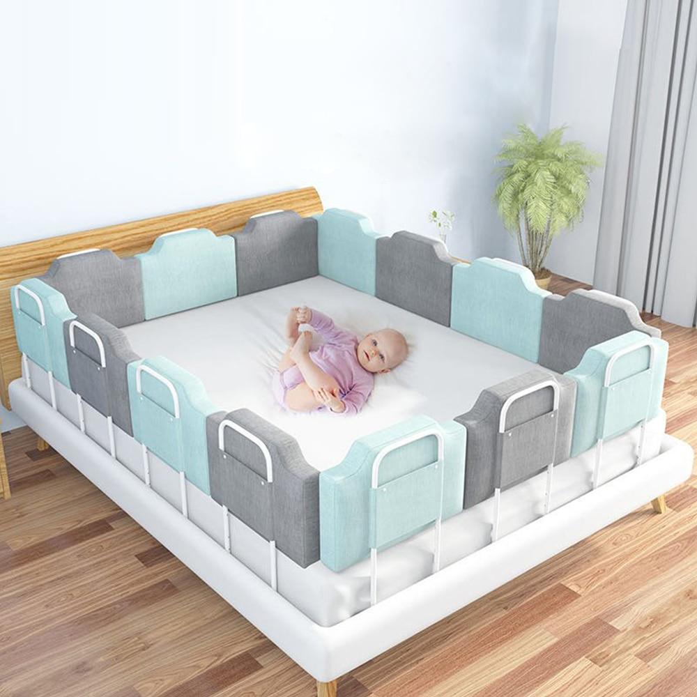 Защита бампера для детской кроватки, защитный барьер для ограждения, манеж для кровати, регулируемые подушечки, направляющие безопасности