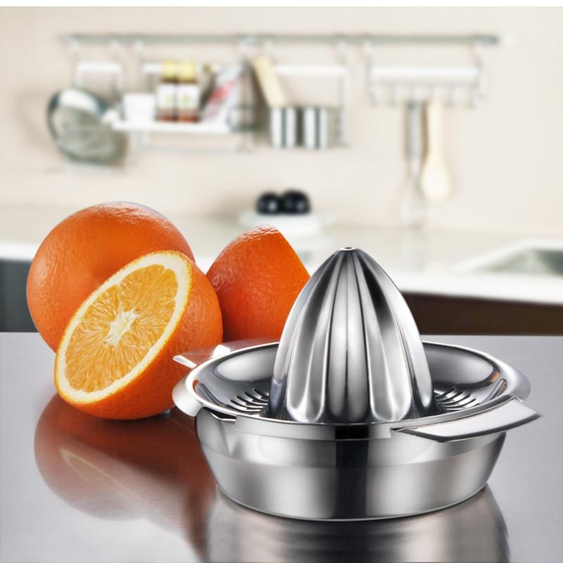 Portable lemon orange manual fruit juicer 304 stainless steel kitchen accessories tools citrus 100% raw hand pressed juice maker