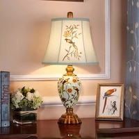 free shipping ceramic table lamp bedside lamp for living room creative country home wedding romantic and cozy bedroom desk lamp