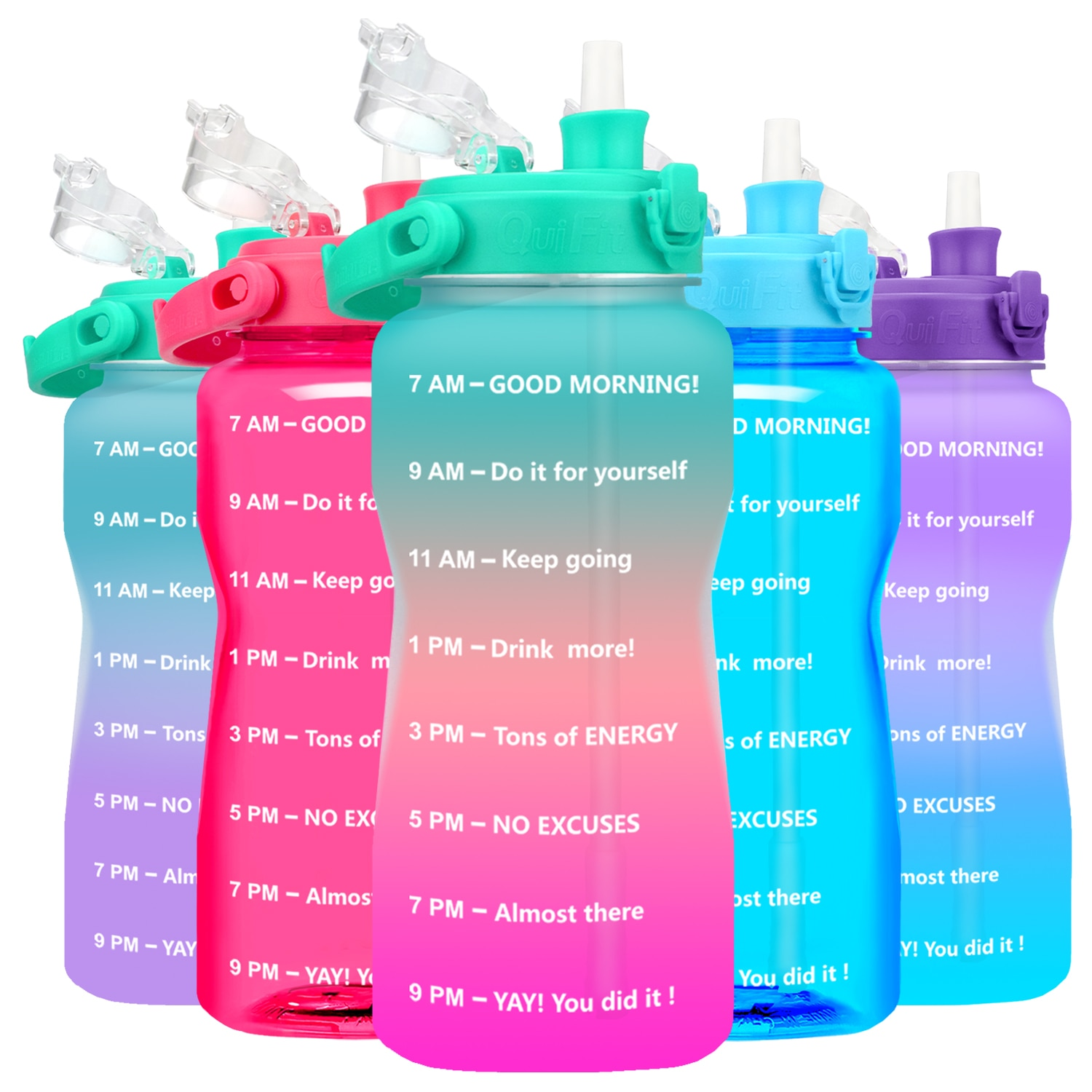 Quifit Gallon Water Bottle with Straw 3.8 & 2 Litre Large Capacity Tritan BPA Free Motivational Quot