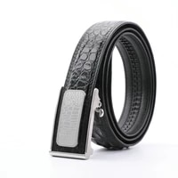 authentic exotic alligator skin automatic steel buckle mens business belt genuine real crocodile leather male waist strap