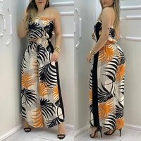 2021 womens overall casual style womens clothing tropical printing strap wide leg