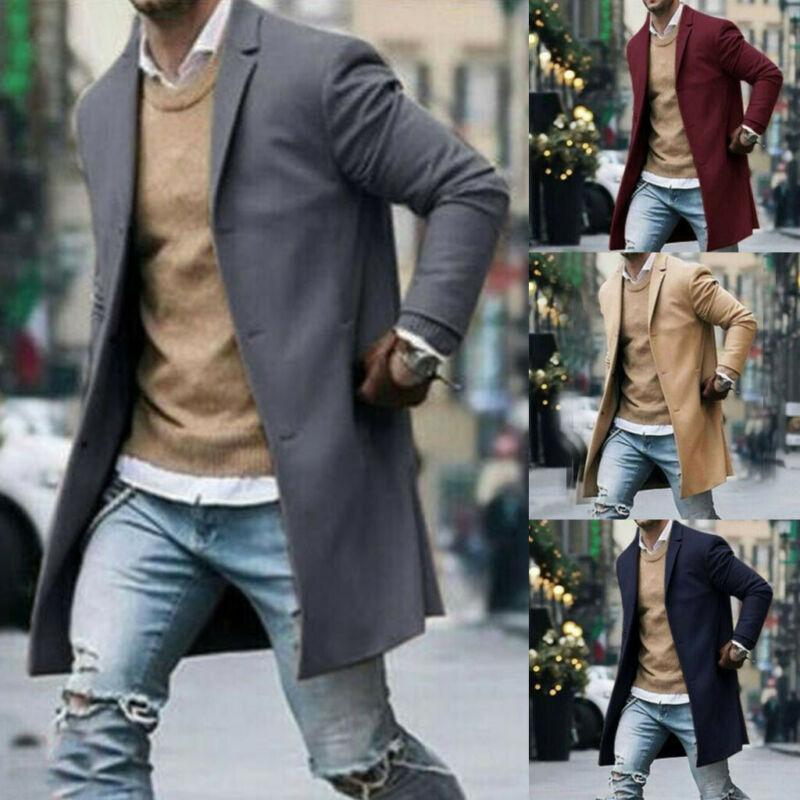 Nuevo abrigo de lana cálido de invierno para hombre, gabardina lisa de manga larga, prendas de vestir, Chaqueta larga Peacoat