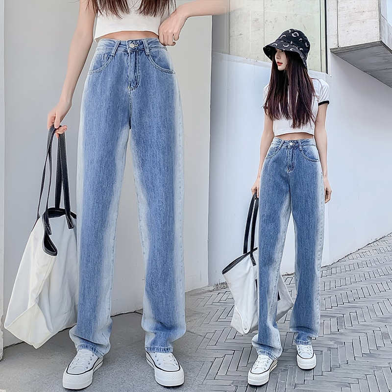 Gradient Contrast Wide-Leg Jeans Women's Straight Loose 2021 Spring New Chic Elegant High Waist Droo