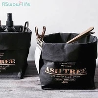 nordic style original retro black kraft paper bag hot stamped letter english bag tear resistant washable cosmetics storage bags