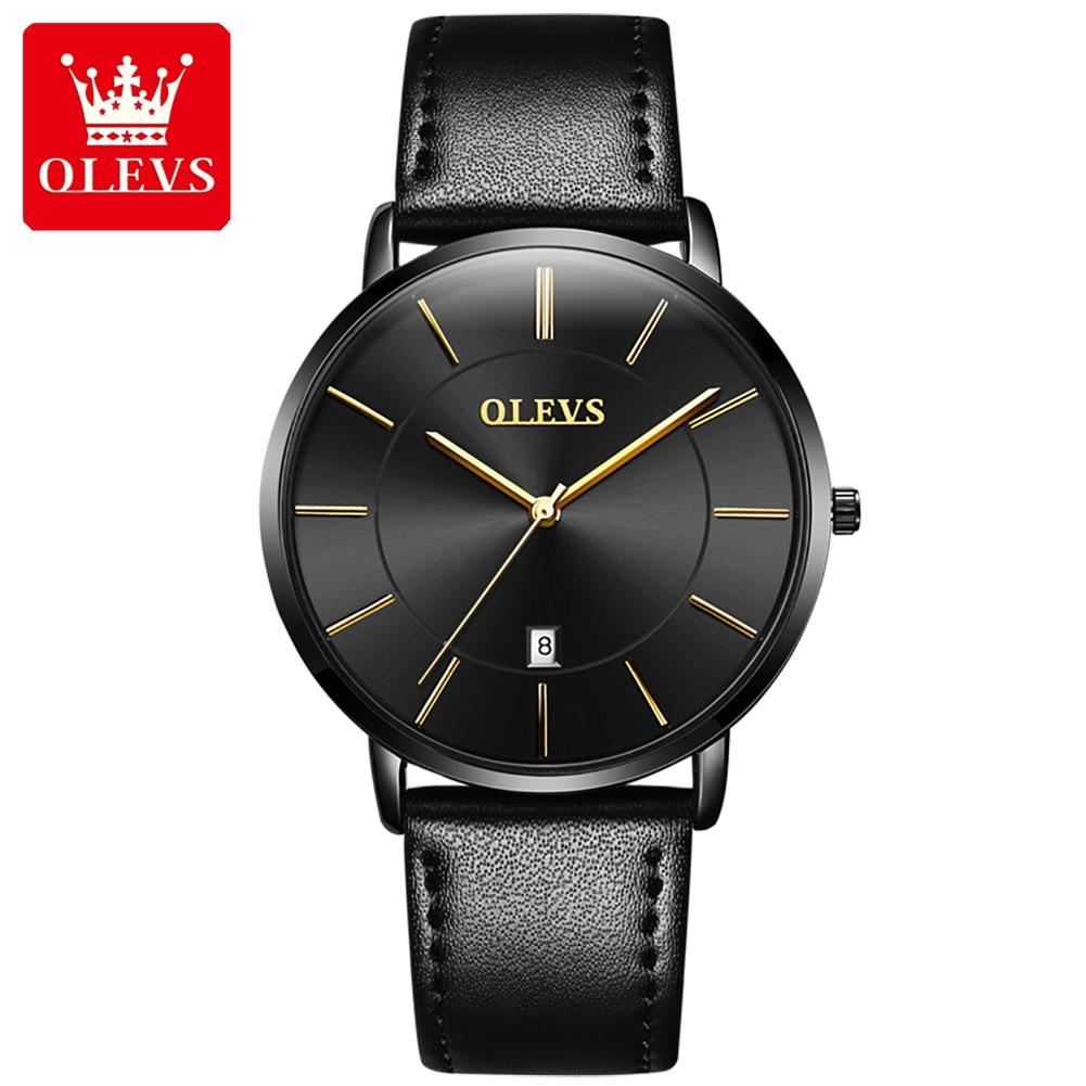 OLEVS Luxury Brand Men's Watches Waterproof Calendar Leather Men Watch Fashion Casual Quartz Wristwa