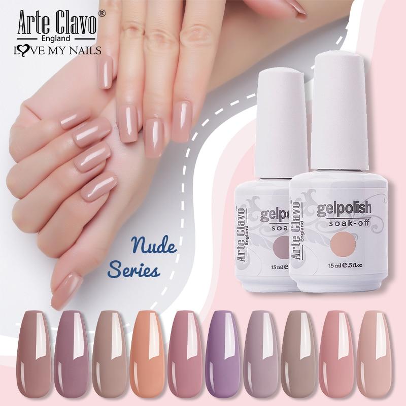 Arte Clavo 15ml Nail Gel Polish Nude Color Series UV LED Hybrid Nails Lacquer Varnish Manicure Nail Art Soak Off Gellak Varnish недорого