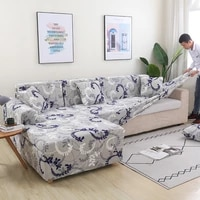elastic polyester sofa cover for living room blooming down knitted fabric cover protective cover 1234 seat