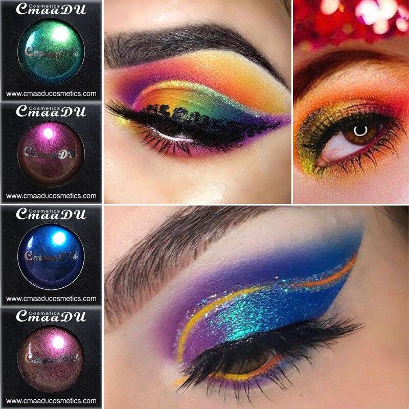 Cmaadu 4 sombra de ojos colorida, paleta de maquillaje en polvo, ojos ahumados para mujeres, brillo metálico, sombra de ojos, verde, azul, púrpura, cosmético