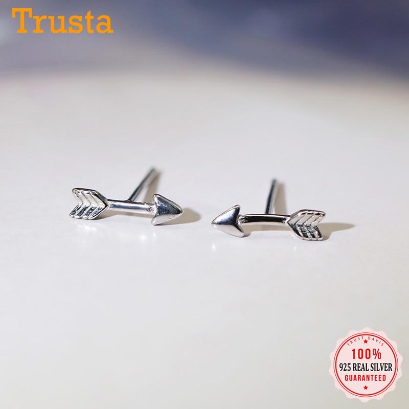 trustdavis-Настоящее-серебро-925-пробы-модные-милые-стрелы-очаровательные-серьги-гвоздики-для-женщин-Свадебная-вечеринка-s925-ювелирные-изделия-по