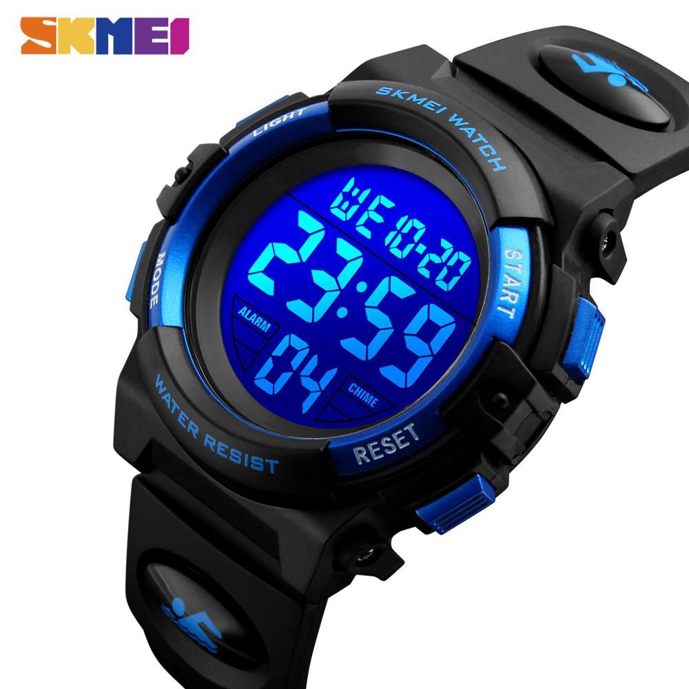 Часы SKMEI детские электронные с хронографом, светодиодные цифровые спортивные водонепроницаемые до 5 бар, для мальчиков и девочек