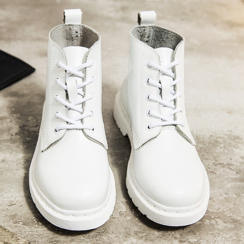 Soft Split Leather Women White Ankle Boots Motorcycle Boots Female Autumn Winter Shoes Woman Punk Mo