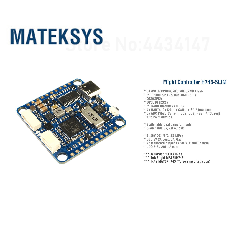 30.5x30.5mm Matek H743 SLIM MPU6000 BEC ICM20602 Baro Blackbox 2-8S F7 Flight Controller for RC Multirotor FPV Drones INAV enlarge