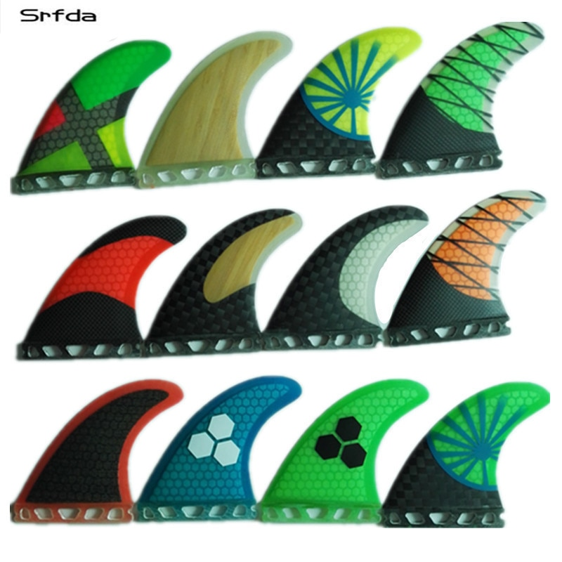 Srfda fiberglas und waben greeen Blau SUP surfbrett fin ruder für Zukunft box surf flossen größe M/G5 flossen top qual