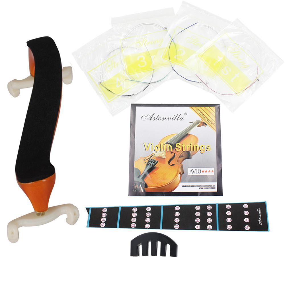 Kit de violín IRIN 4 Uds conjunto de violín silenciador de cinco garras + cadena AV10 + pegatina de diapasón + reposahombros de violín Aston Villa 4/4