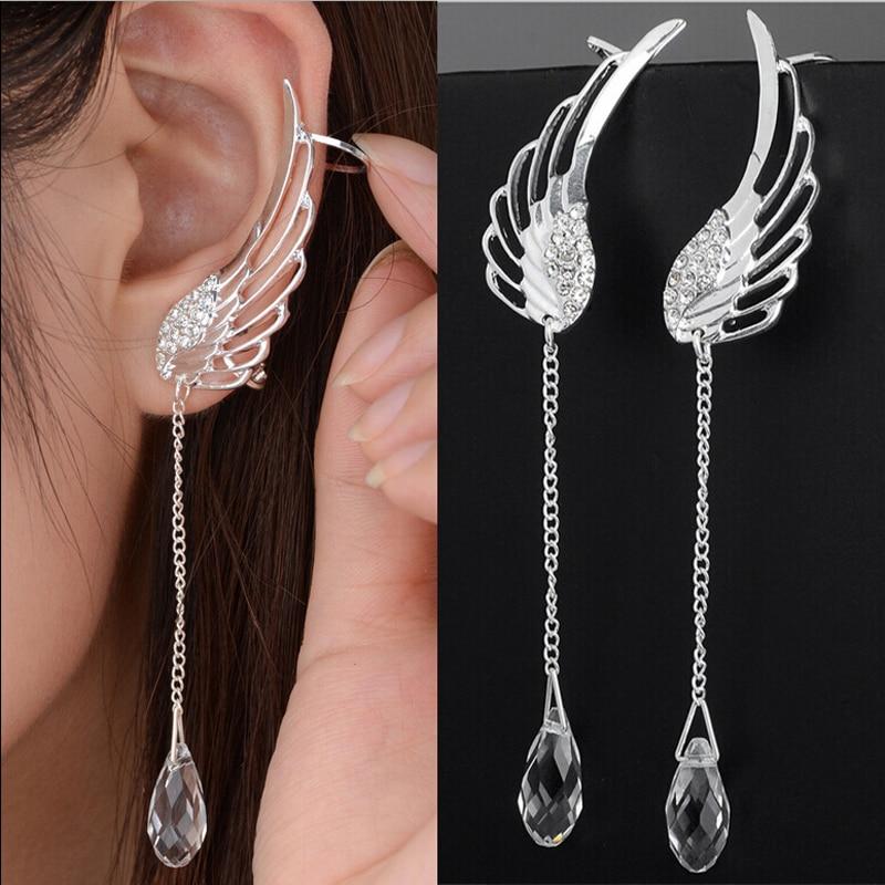 Արծաթապատված հրեշտակի թևի բյուրեղյա ականջողներ կախովի ականջի ճարմանդով կանանց համար, երկար բռունցքով հարվածող ականջի բոհեմի զարդեր