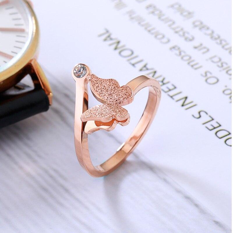 Anillo de piedra de circón mariposa YUN RUO Color oro rosa joyería de acero de titanio de moda Regalo de Cumpleaños mujer nunca se desvanece Envío Directo