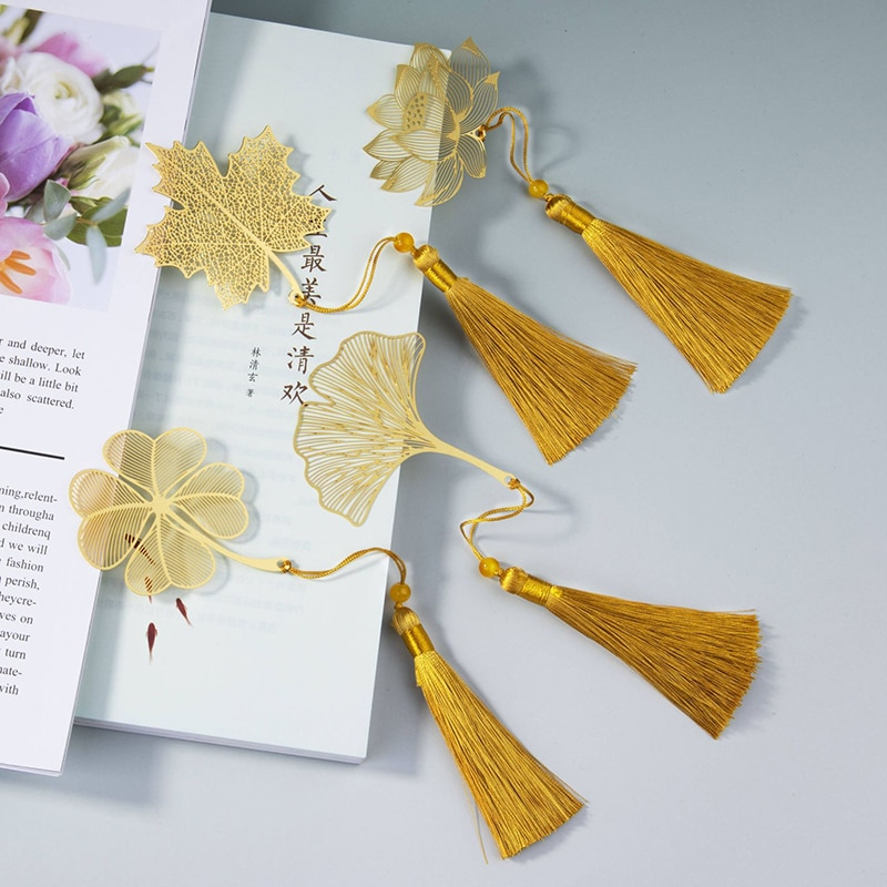 Chinese Style Metal Bookmark Leaf Vein Tassel Bookmark Student Cultural Creative Gift Stationery Supplies chinese style metal hollow bookmark lotus lotus leaf bookmark creative stationery fine holiday gifts art accessories