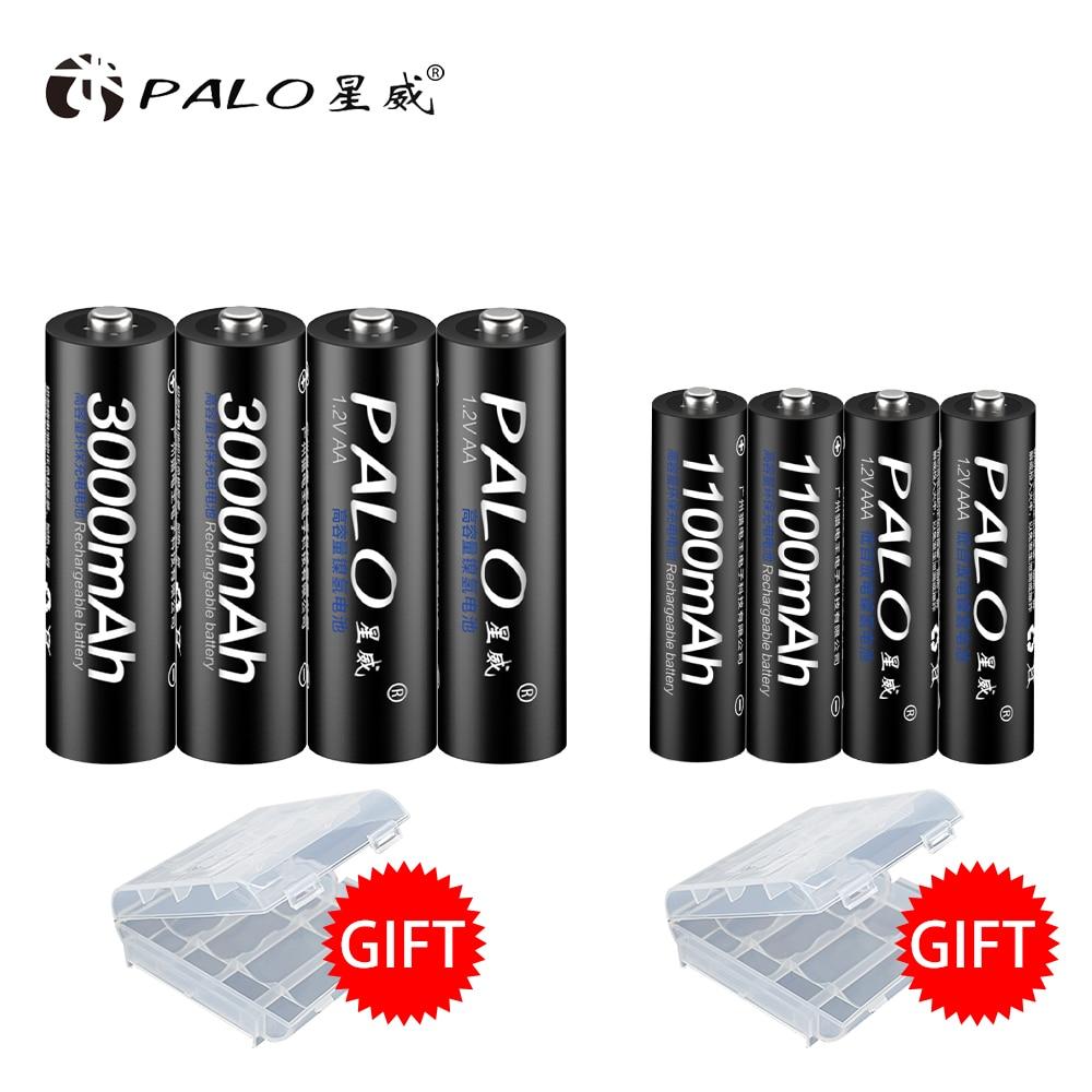 PALO AA Rechargeable Battery 3000Mah+1100mah AAA Rechargeable Batteries AA 1.2V Nimh AA Rechargeable Battery AAA palo 2 24 pcs rechargeable aa 2a battery 1 2v 3000mah aa 2a nimh original high capacity current batteries battery aa batteries