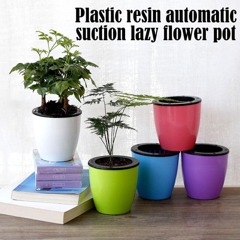 1 pieza de resina espesada maceta de plástico cuerda de algodón absorción automática de agua tazón de planta verde perezoso para artesanías de plantas 110x100mm