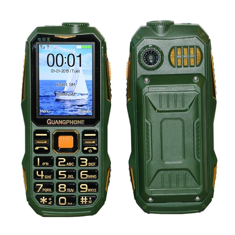 Larga modo de reposo para teléfono móvil resistente al aire libre SOS Dial negro lista grande teclado antorcha Whatsapp sonido fuerte Powerbank