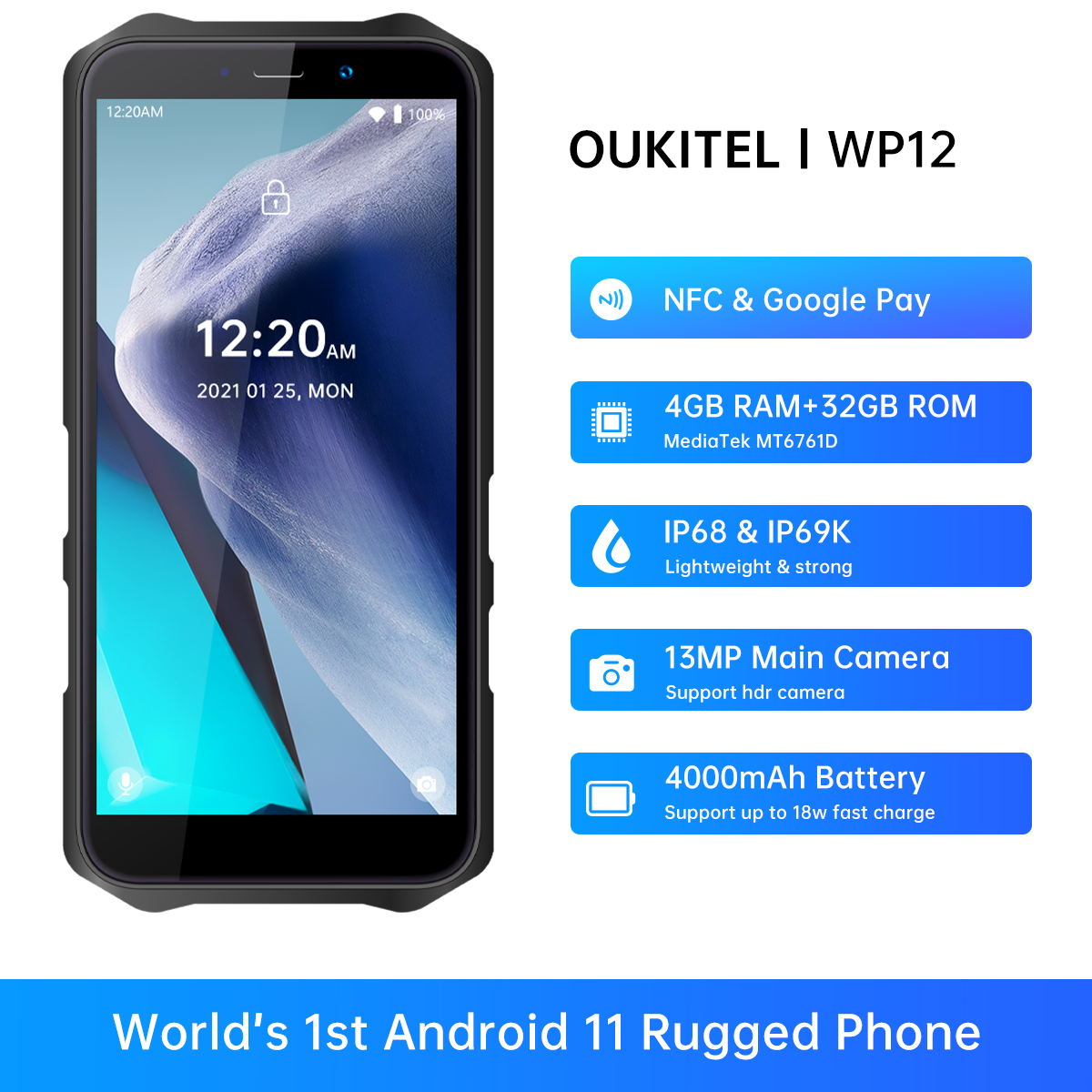 Смартфон Oukitel WP12 защищенный, NFC, Android 11, 4 + 32 ГБ, 4000 мАч, 5,5 дюйма, 13 МП, IP68/69K