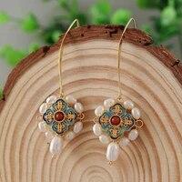 coeufuedy vintage natural freshwater pearl earrings for women white pearl earings ethnic handmade drop earings fine jewelry