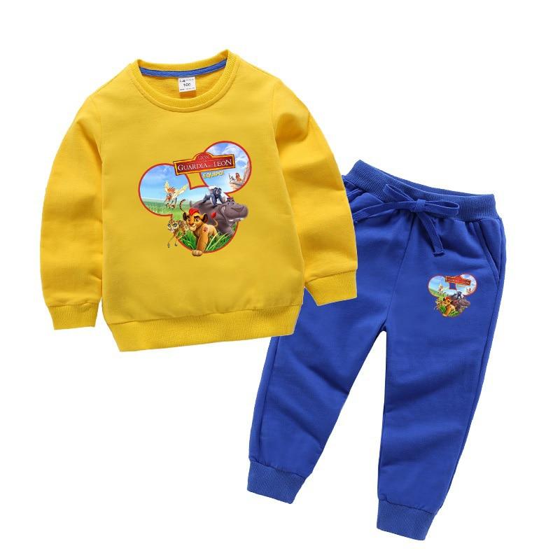 Primavera dos desenhos animados o rei leão pumba impressão define moletom das crianças + calças menino/menina crianças casuais camisolas de manga longa roupas