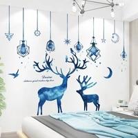 blue chandeliers lights wall stickers diy deers animals mural decals for living room kids bedroom nursery home decoration