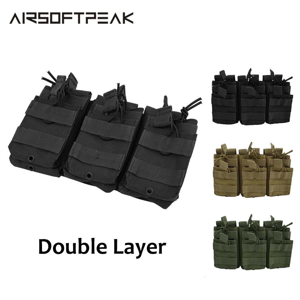 Bolsa táctica de Nylon Triple para revistas de doble capa M4 bolsas militares accesorios de caza Mag Paintball Airsoft bolsa para revistas