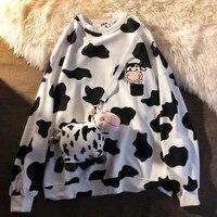 qweek kawaii cow print crewneck sweatshirt women korean style 2021 fashion long sleeve hoodie harajuku pullover cute tops casual