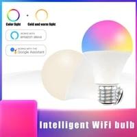 Ampoule intelligente Wifi 15W E27 B22  lampe declairage de maison magique RGB  lumiere changeante de couleur  anneau lumineux  fonctionne avec Alexa Google