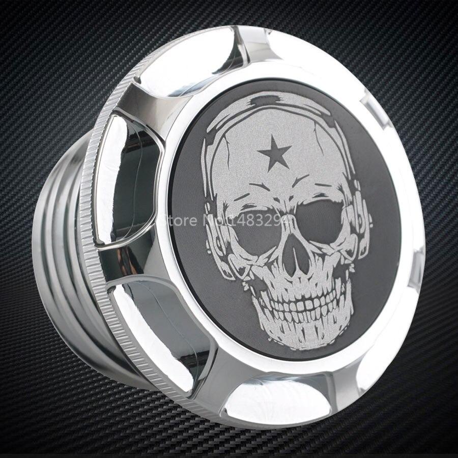 Motocicleta universal chrome cabeça do crânio tanque de gás tampa óleo guarnição borda alumínio corte apto para harley sportster xl 1200 883 48 softail