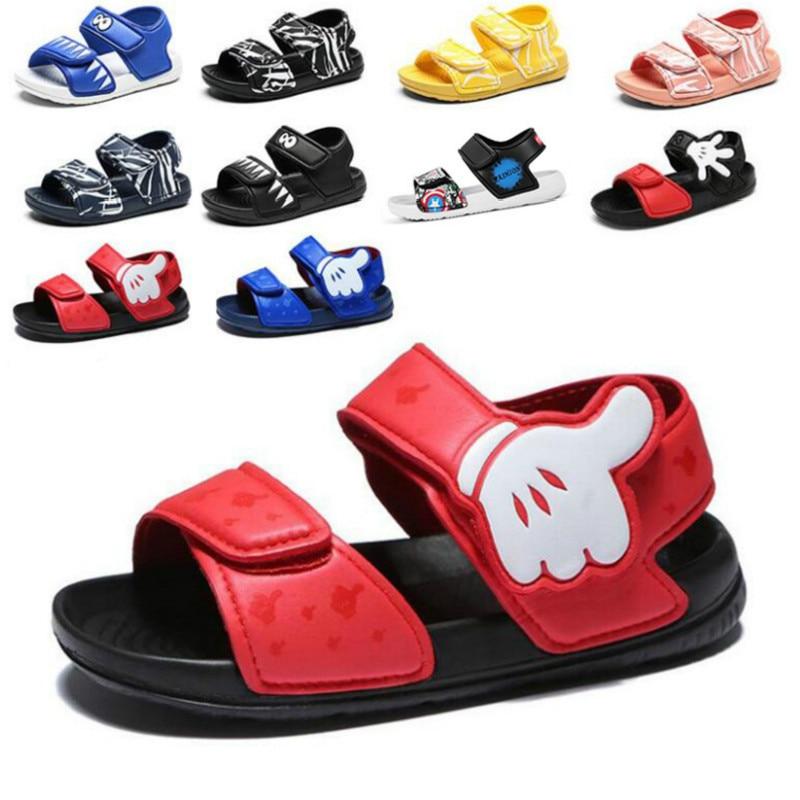 Summer New Soft Non-Slip Beach Shoes Captain America Spiderman Mickey Open Children's Sandals Wild B