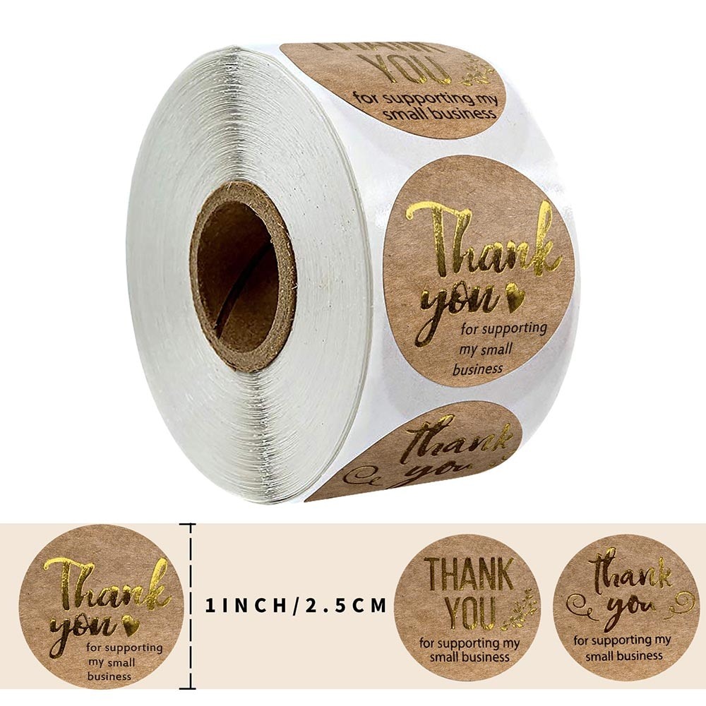 "500 Uds hoja de oro ""Thank You"" de Kraft pegatinas de papel con etiquetas redondas bolsa de regalo/caja de pegatinas de decoración de papelería"