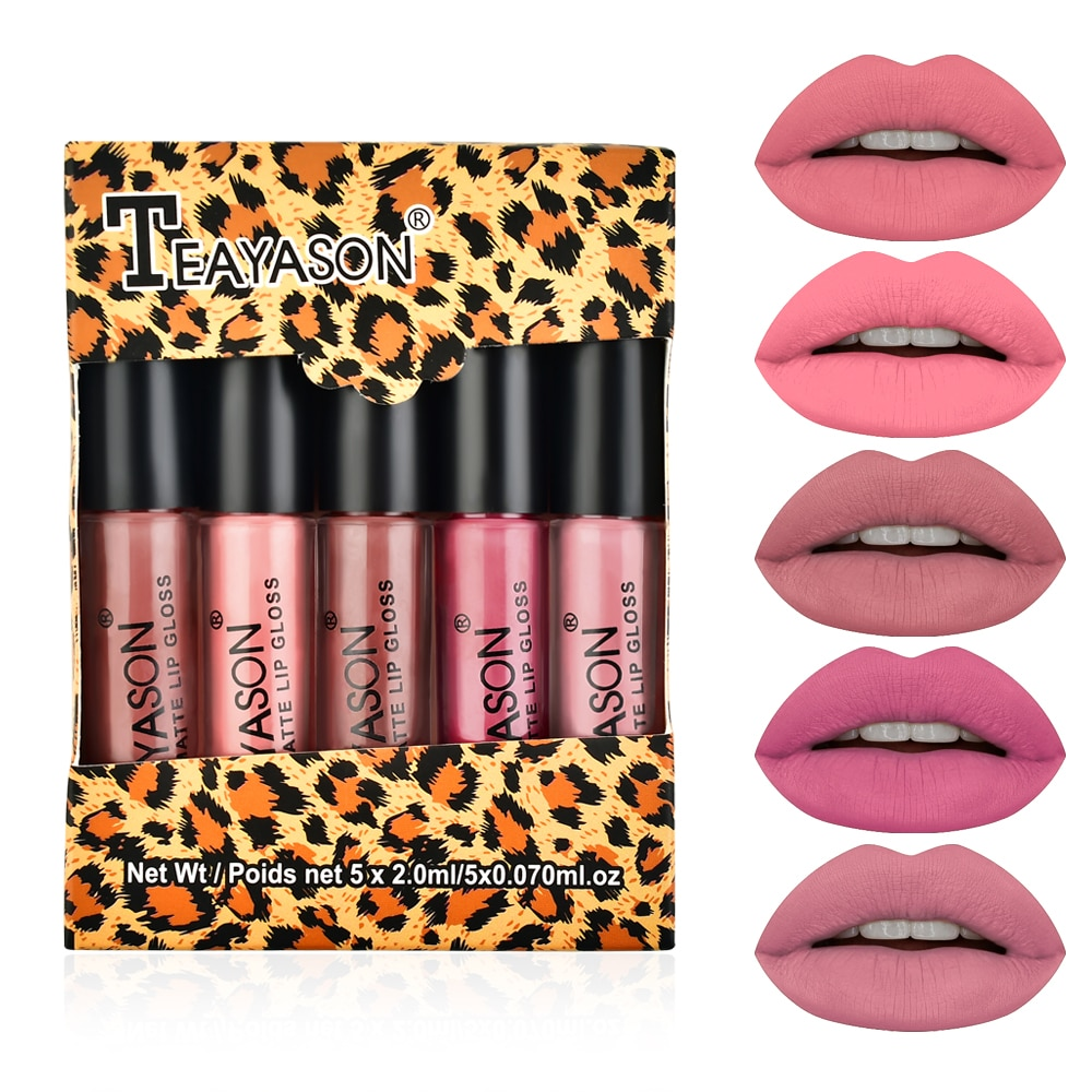 5 teile/satz samt matte lip gloss durch Teayason sexy rote kürbis farbe leopard verpackung langlebig wasserdicht nude lip tint AM144