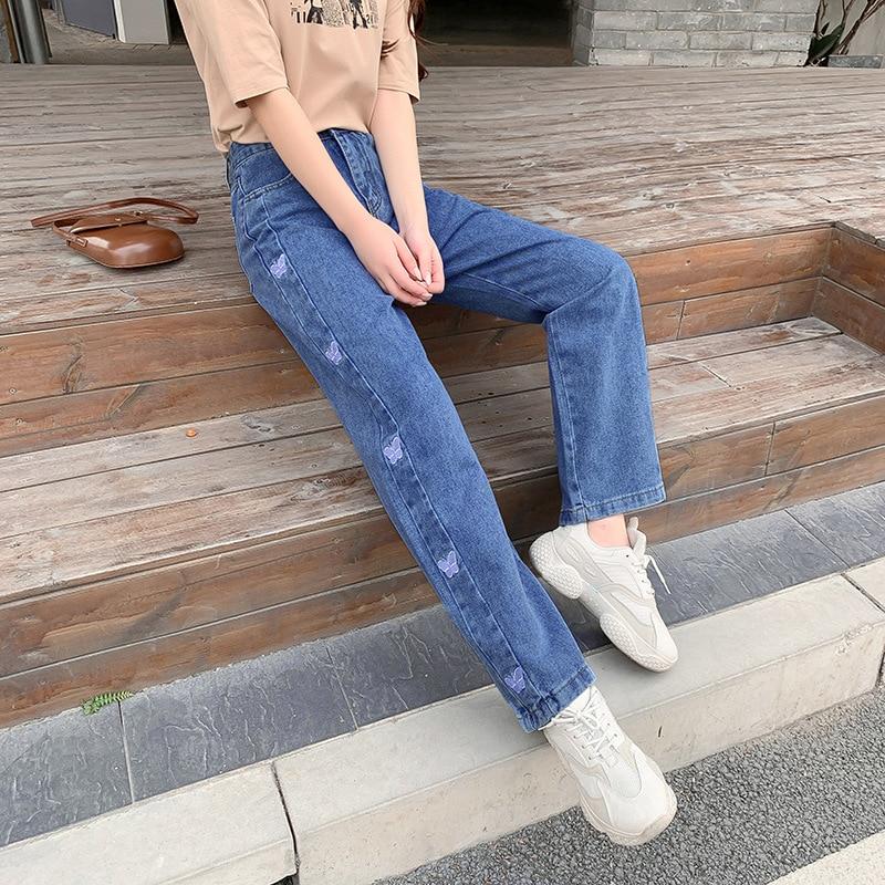 Синие джинсы с высокой талией, новинка 2021, повседневные Прямые брюки-бойфренды в Корейском стиле, джинсовые брюки с вышивкой бабочки