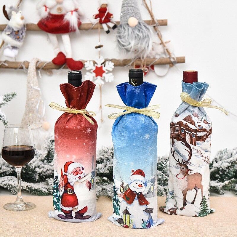 Bolsa de lino de Navidad para de vino, cubierta de cartón para...