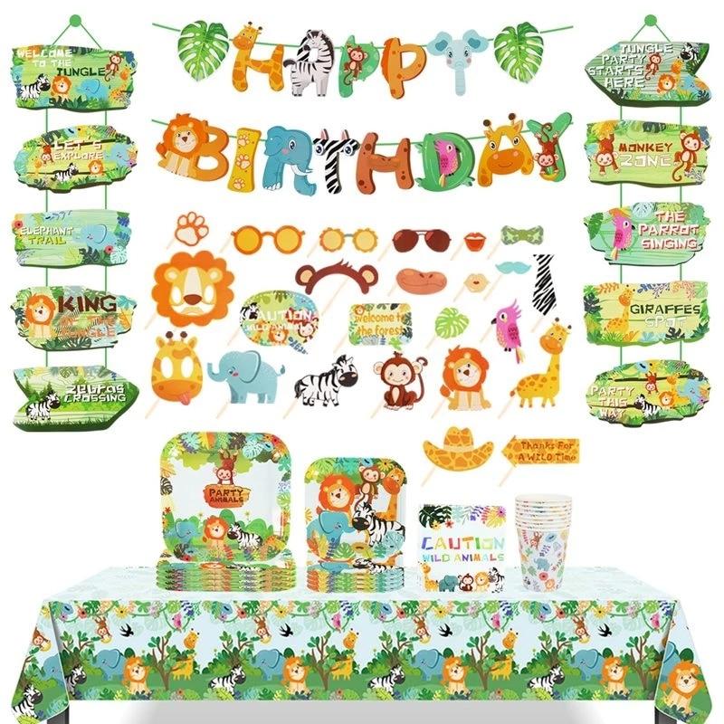 Столовая посуда одноразовая с изображением леса, джунглей, сафари, Детский зоопарк, обезьяна, Лев, Зебра, слон, первый мальчик, лес